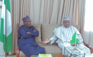 Katsina State Deputy Governor Alhaji Mannir Yakubu with Minister of Water Resources Sulaiman Adamu in his office in Abuja over Kobe Water Project