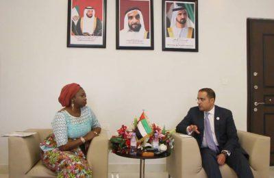 United Arab Emirates' Ambassador to Nigeria Dr Fahad Obaid AI Taffaq and Hon Abike Dabiri-Erewa, Chairman CEO, NiDCOM
